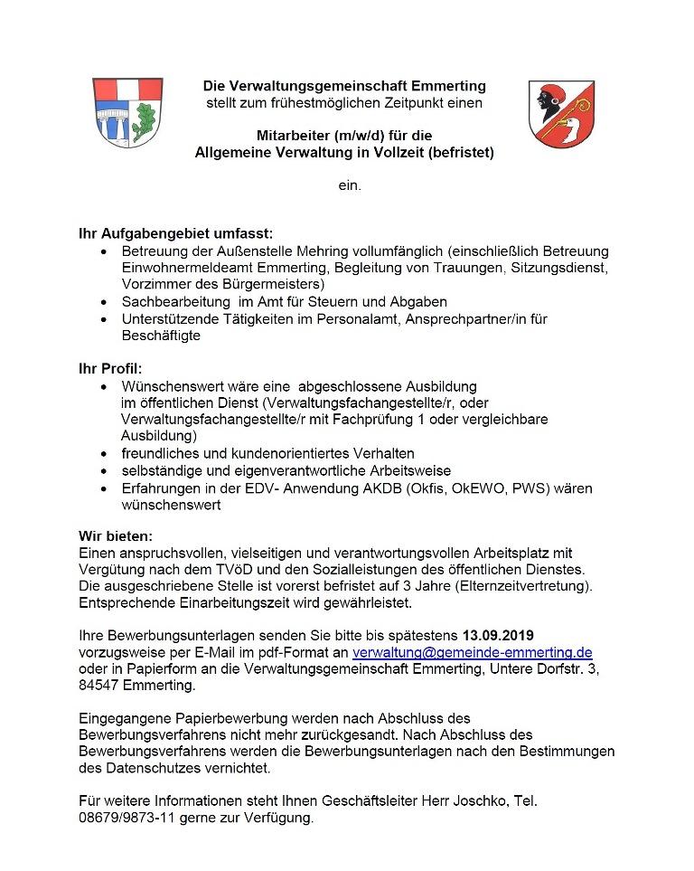 Stellenausschreibung Allgemeine Verwaltung 2019