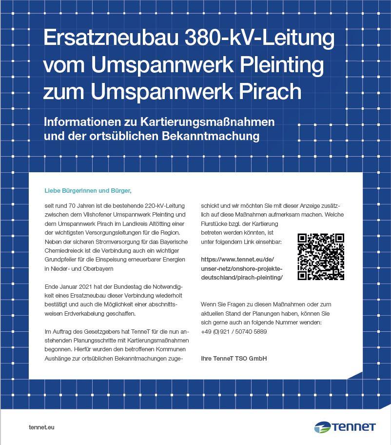 Ortsübliche Bekanntmachung Pirach-Pleinting 2021 Abschnitt 1